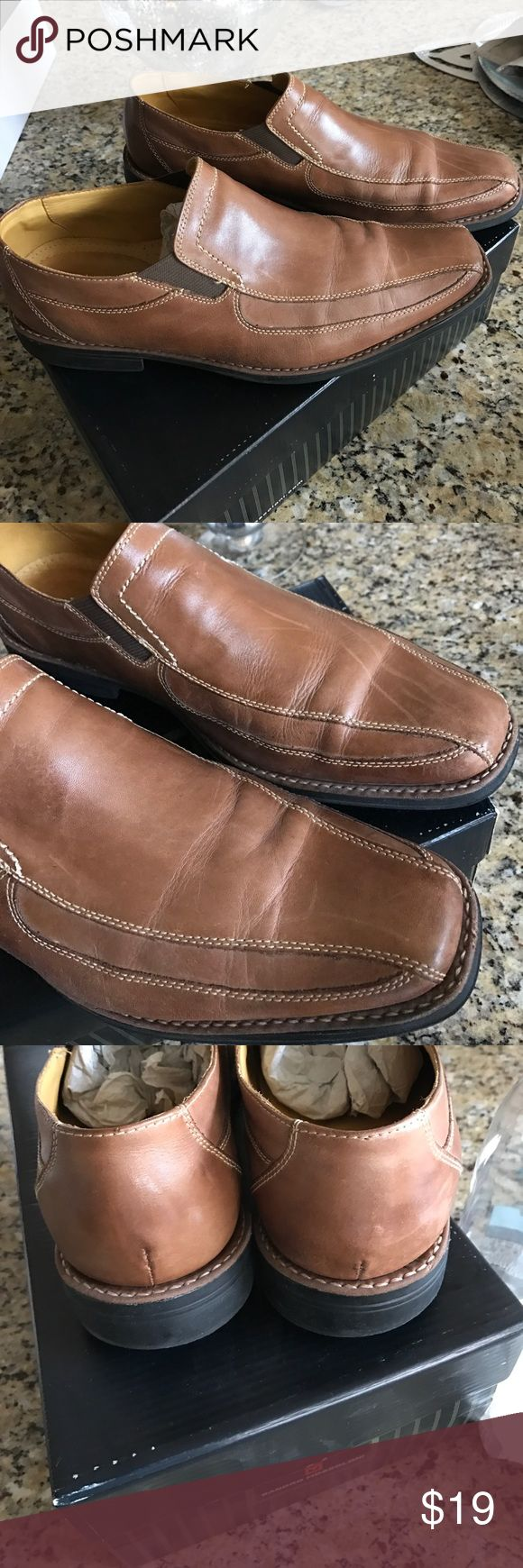 Slip on casual leather rubber sole shoes Super soft leather uppers and rubber sole , camel brown neutral color. Scuffs on front on left shoe . Tons of life left in these Sandro Moscoloni  Shoes Loafers & Slip-Ons