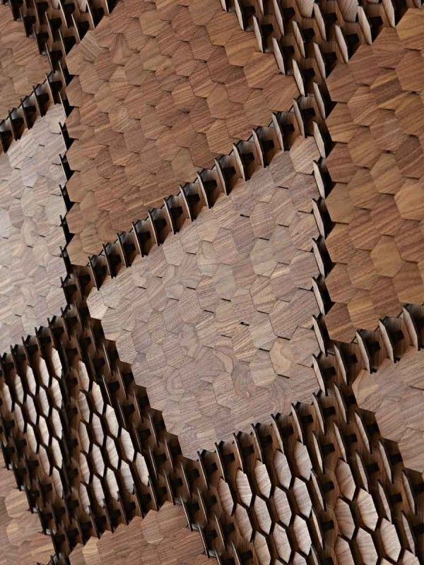 Giles Miller Studio.:Rosaic/Timber Alexander (Lasercut)/timber veneer finishes Another way timber veneers can be used. Veneers are a lot more environmentally friendly as less trees are needed.