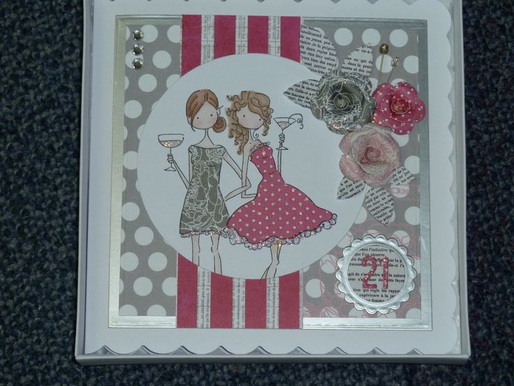 21st birthday card made using Stamping Bella Uptown Girls Victoria and Juliette night out stamp.