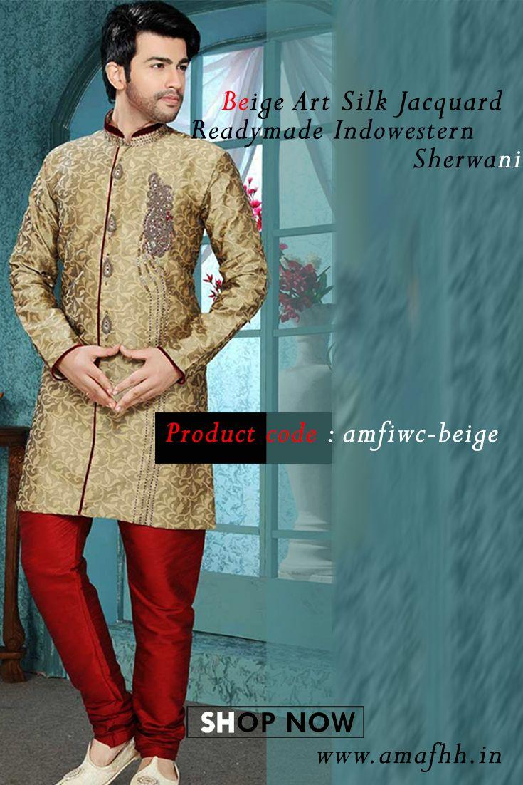 Majestic touch to your wedding day with this extremely stylish beige art #silk #jacquard #readymade #Indowestern #Sherwani https://goo.gl/3BeJ4i