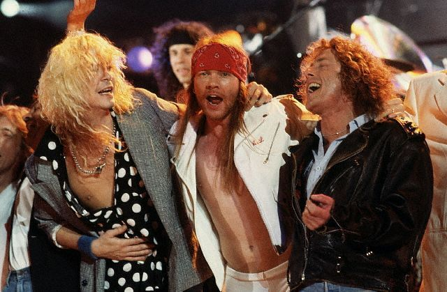 Roger Daltrey, Axl Rose and Duff McKagan during the finale at the Freddie Mercury Tribute Concert, 1992.