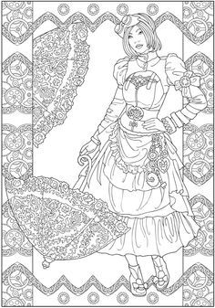 steampunk girl coloring pages - photo#32