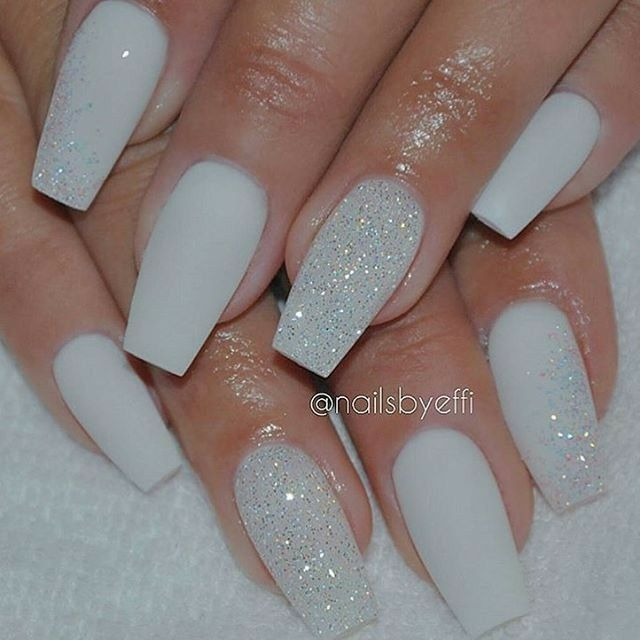 Tapered Square Nails White And Glitter Nails Acrylic Nails Gel Nails Diamond Nails Matte Nails Design Gorgeous Nails