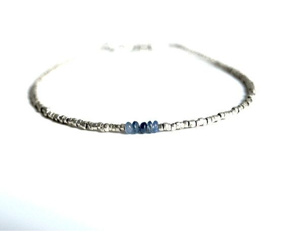 Minimalist Sapphire Bracelet smooth small by bluegreenjewels, $30.00