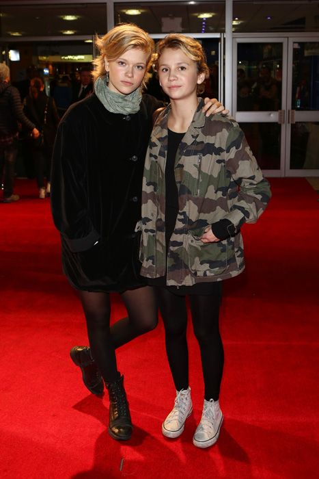 Mira Barkhammar and Liv LeMoyne at the London Film Festival premiere of We Are The Best!