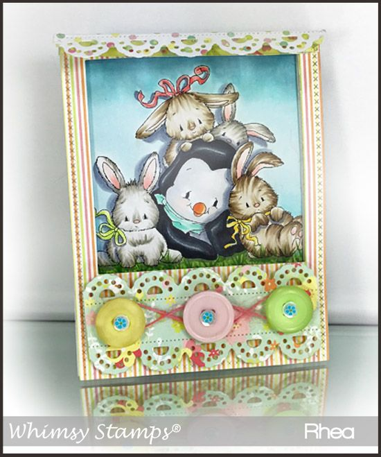 Whimsy Stamps - Penguin with Bunnies.....I am in love