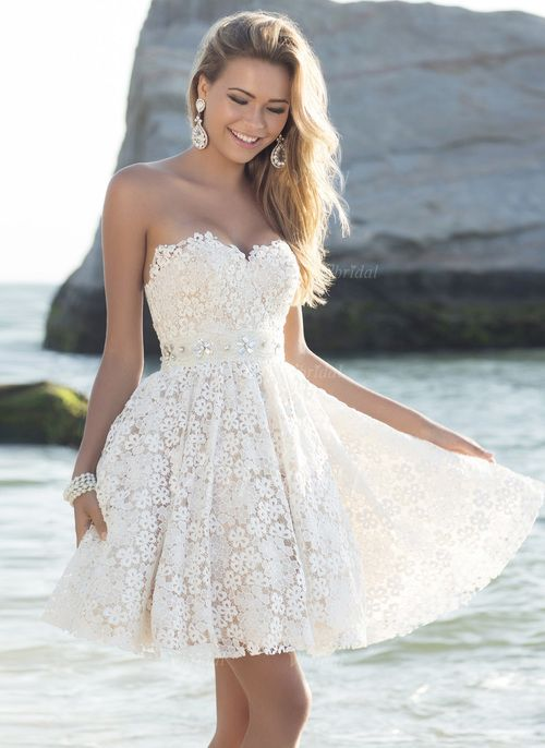 Wedding Dresses - $126.35 - A-Line/Princess Strapless Sweetheart Short/Mini Lace Wedding Dress With Beading (0025058615)