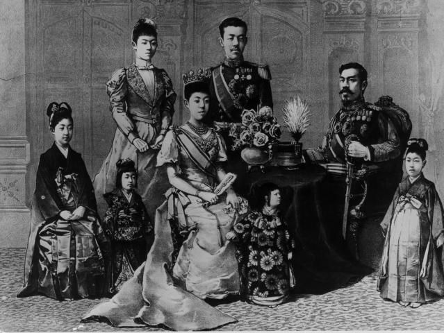 How the Meiji Restoration Ended Shogun Rule: The Meiji Emperor and his family, circa 1880.  The adults wear western-style clothes.