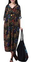 Voguees Women's Summer Floral Printed Robe Dress