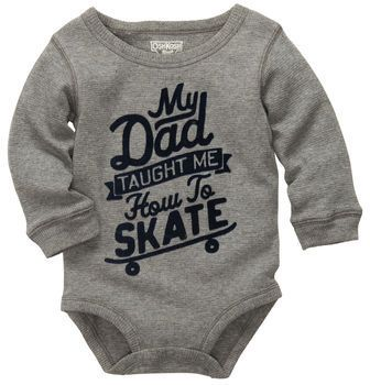 """Long-Sleeve Thermal Athletic Bodysuit. How cool is dad that he taught the little guy how to skate! He's got to wear a long-sleeve thermal bodysuit saying so!Detailed with classic navy flocked """"My Dad Taught Me How To Skate"""" graphic for a dimensional, authentic letter lookSnaps on panel for quick and easy diaper changesRibbed cuffs keep sleeves out of placeA cozy must-have for layering and playing all day100% cottonImportedMachine washable"""