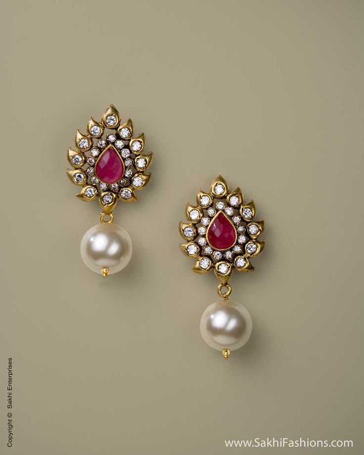 Ruby Red Stones, Faux Pearl, Glass Kundan Earrings | Sakhi Fashions (US)