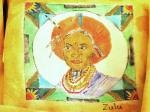 Drawn and painted on fabric - SA Tribal Placemats - Zulu Woman: Painting On Fabric, Paintings On Fabrics