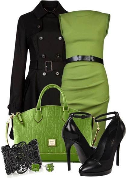 Green sheath dress with black coat and matching accessories.