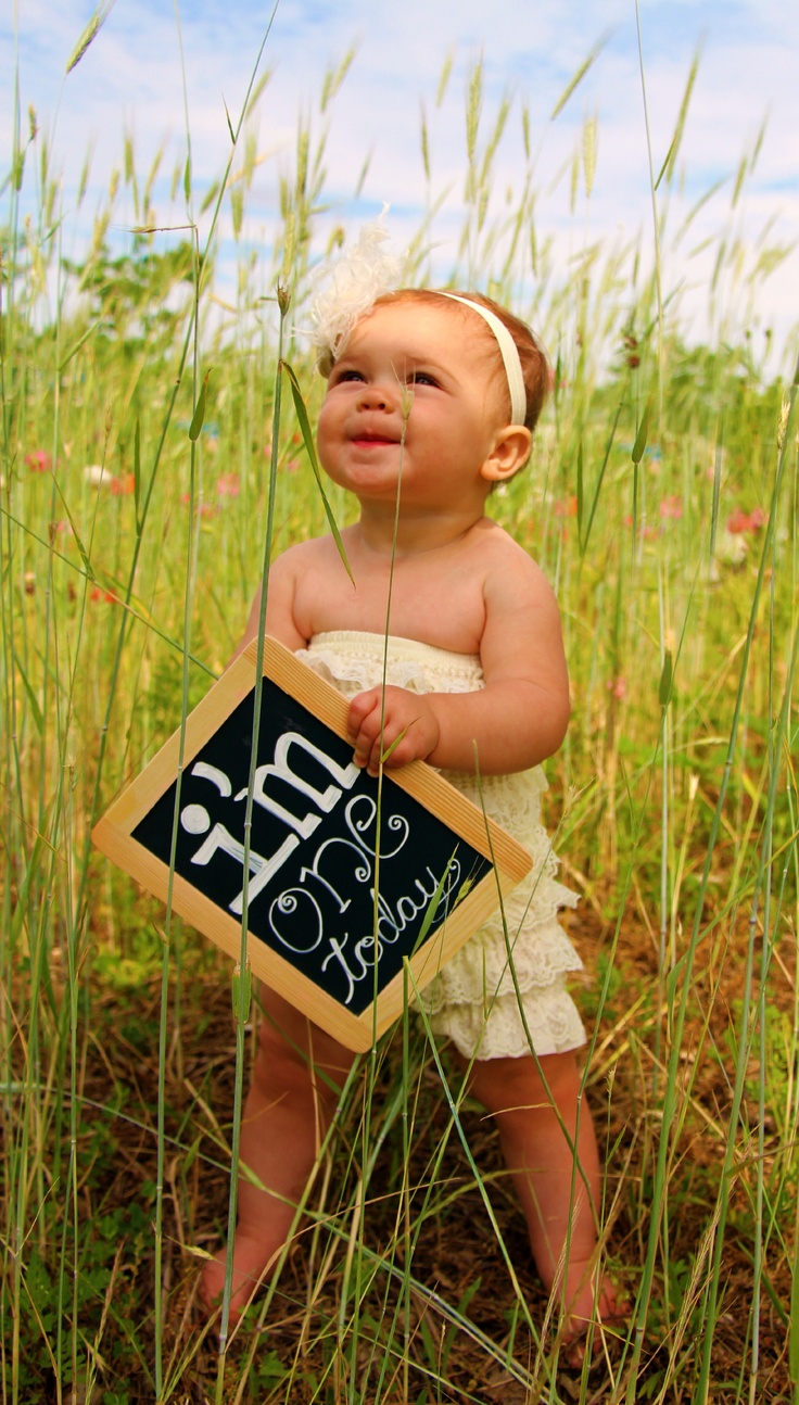 1 Year Old Birthday Picture...perfect since RiLynn is walking =) I can't wait!!! I hope he shows off all 8 teeth!!