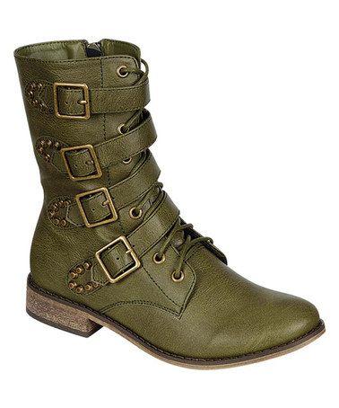 Look at this #zulilyfind! Military Green Harley Boot by Breckelle's #zulilyfinds