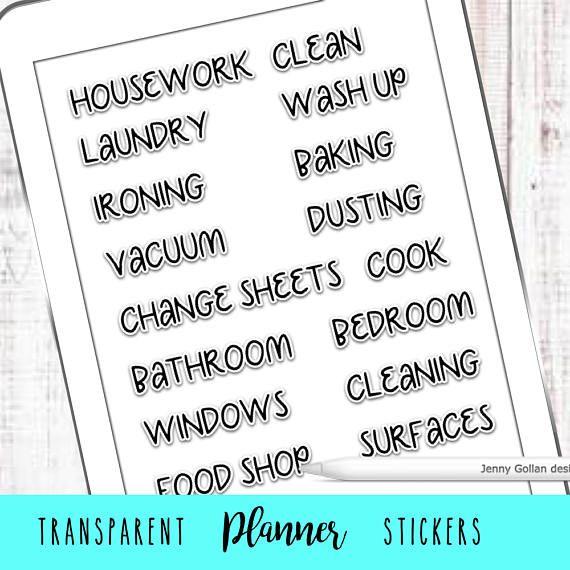 Digital Journal Stickers Housework Transparent Png Journal Stickers Planner Stickers Digital Journal