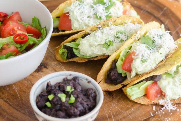 Zonder vlees. Taco's met zwarte bonen.