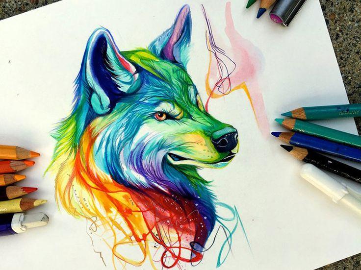 Ilustraciones de animales salvajes realizados con lápices de colores por Lipscomb