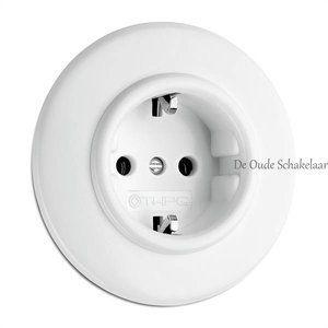 Duroplast wit bakeliet stopcontact wandcontactdoos inbouw binnenwerk. Het afdekraam dient los besteld te worden. Dit is alleen het binnenwerk.