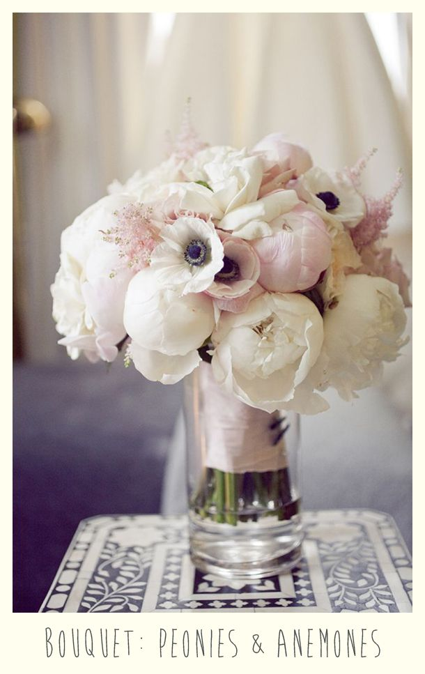 pale pink and white anemone and peony bridal bouquet.