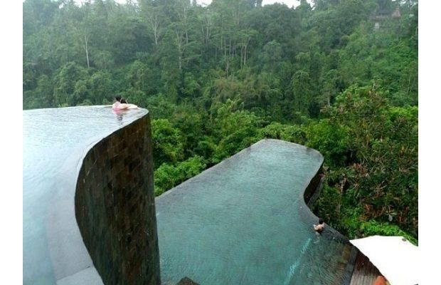 Ubud Hanging Gardens pools, Bali The most striking feature of this hotel is its multi-levelled hanging infinity pools, with curves that mimic the shape of the hills nearby. In addition to the main pool, all rooms and suites have their own individual horizon-edge pool.