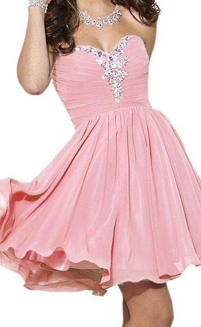 Eveing dresses Homecoming Dress Chiffon Sweetheart PROM DRESS Short A-Line DRESSES PINK MINI PARTY DRESSES