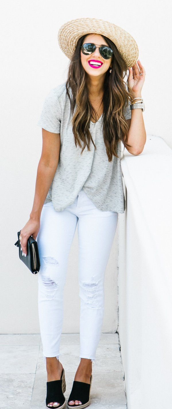 #summer #outfits  When Your Favvv Mules Are On Sale && Super Comfy, I Must Share. I Also Live In This Tee // Grey Tee + White Ripped Skinny Jeans + Black Wedge