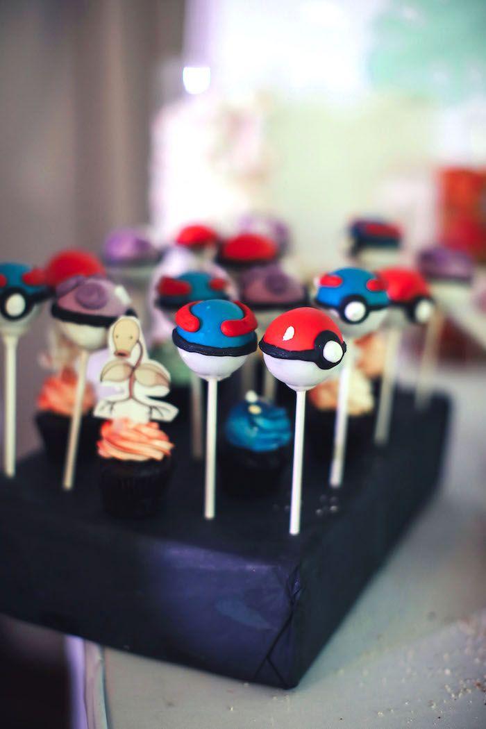 Pokemon cake pops from a Pokemon Beach Birthday Party on Kara's Party Ideas | KarasPartyIdeas.com (12)