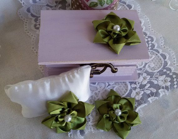 3 satin ribbon flowers green fabric flowers ribbon by Rocreanique on Etsy