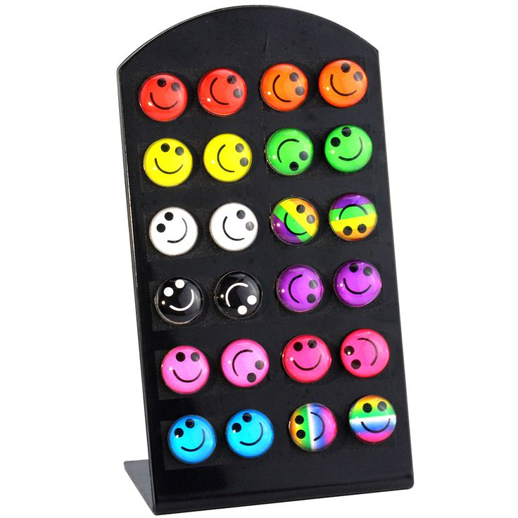 MMS 12pairs Cute Simle Face Ear Stud Rainbow Oil Round Earring for Child and Girl