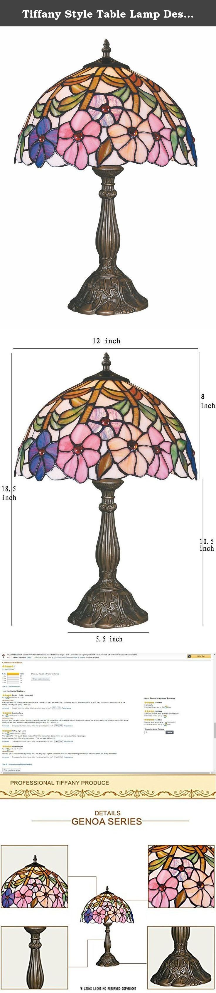 Tiffany Style Table Lamp Desk Lamp 18.5 Inch Height GENOA Series Home & Office Decor Collection Wilsons Lighting WL122383. GENOA Series Tiffany-style table lamp, it's an elegant addition to your room, makes painting, executive desk, sofa area, bedside, hallway, mini-bar, entertainment room or office more antique stylish. With floral motif reminiscent of verdant countrysides, the natural aesthetic forms perfectly to the Victorian elegance of Tiffany art glass. This fixture offers a soft...