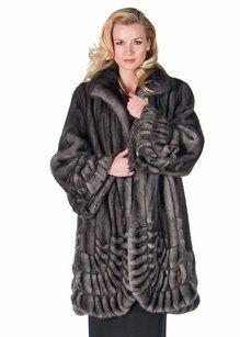 madisonavemall Blue Iris Natural Mink Fur Coat Gray Jacket