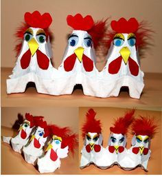 Chickens made out of a recycled empty egg carton! Such a fun craft for kids to do using feathers and googly eyes! #DIY #Art Project #Farm theme