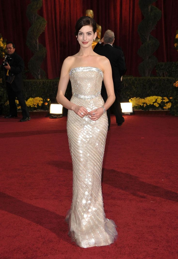 The best Oscar dresses of all time—Anne Hathaway's white Armani dress, 2009