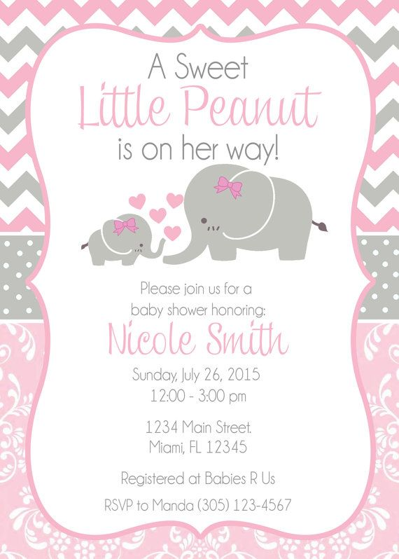 11 best Pink Elephant Baby Shower Invitations images on Pinterest