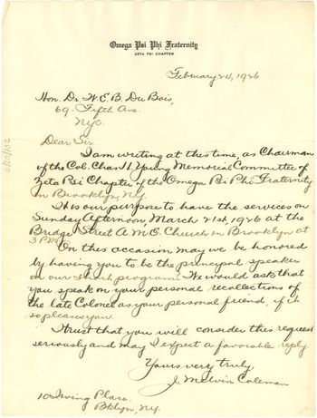 Letter from Omega Psi Phi Fraternity to W. E. B. Du Bois, February 24, 1926