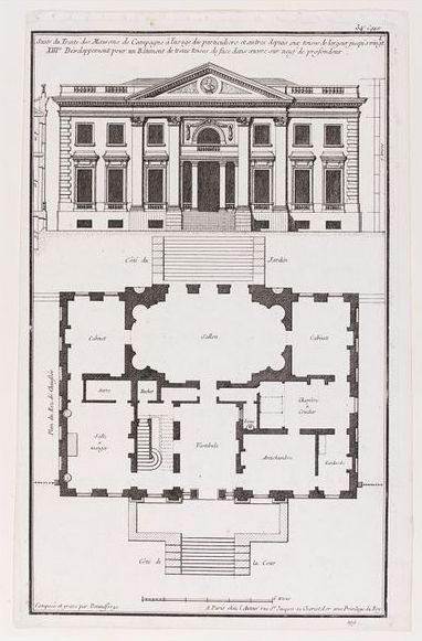 This print by Jean François de Neufforge shows a plan for a country house, with the front of the building shown at the top of the image. Taken from the book Receuil Elèmentaire d'Architecture, this is an example of using different architectural orders of different sizes on the same building. Here a giant order of pilasters goes up the whole height of the façade. France, 1760.