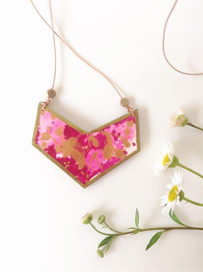 NECKLACE reversible chevron wood & original watercolour art necklace in cerise. | Banjo & The Sparrow | madeit.com.au
