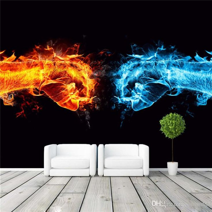 3D Wall Mural Ice Fire Fist Photo wallpaper Fight power Wallpaper For Gym Silk Poster Large Wall Art Room decor Bedroom Living room Shops