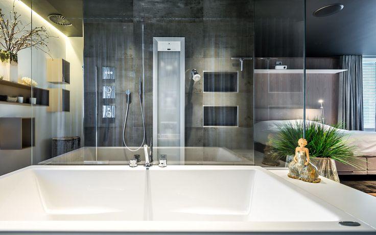 De vraag Maak een vernieuwd ontwerp voor de begane grondvan een modern woonhuis, waarin de slaapkamer en de badkamer naadloos in elkaar overlopen. He...