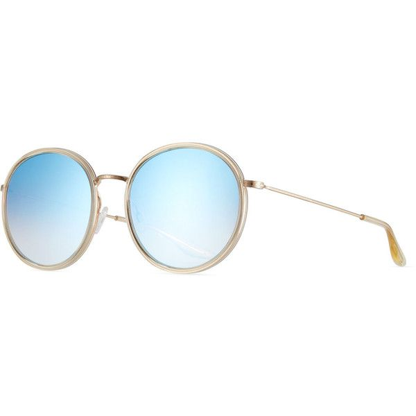 Barton Perreira Joplin 2 Round Mirrored Metal-Rim Sunglasses ($495) ❤ liked on Polyvore featuring accessories, eyewear, sunglasses, champagne, mirror sunglasses, barton perreira sunglasses, mirror lens sunglasses, metal sunglasses and round glasses
