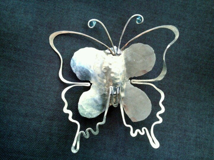 Butterfly. Brooch alpaca and glass beads.