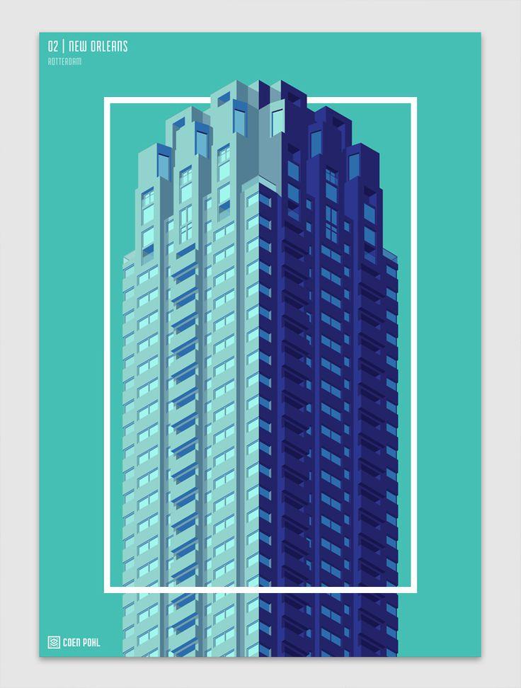 Verfrissend, om ook eens Nederlandse architectuur als onderwerp van een set illustraties te zien. Van Amsterdam naar Utrecht via Hilversum, Coen Pohl heeft tien markante gebouwen in een strak jasje gegoten.