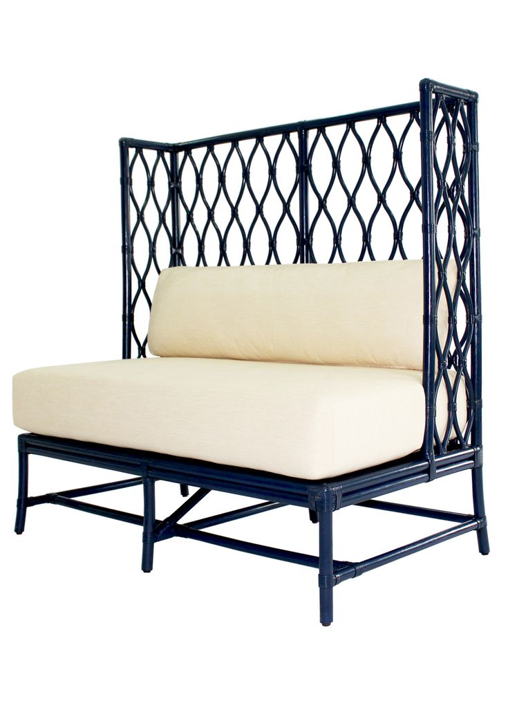 Ambrose Rattan Banquette Bench Navy Beautiful Blue