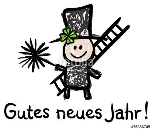 Vektor: Gutes Neues Jahr! - Schornsteinfeger, Bürste, Leiter, Kleeblatt
