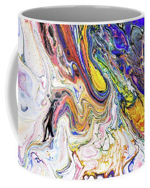 Colorful Night Dreams 7. Abstract Fluid Acrylic Painting Coffee Mug by Jenny Rainbow.  Small (11 oz.)