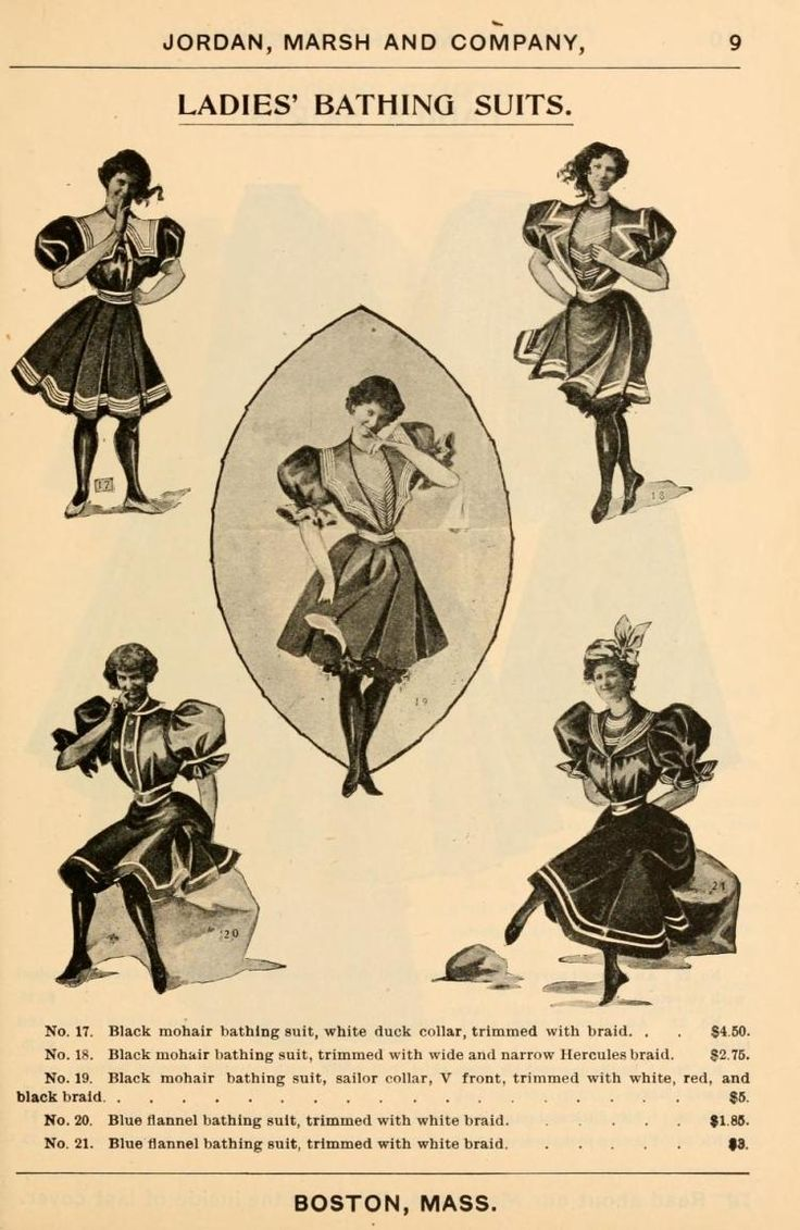 1897: Ladies bathing suit fashion from Jordan, Marsh and Company.