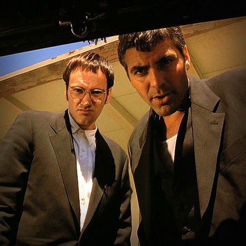 """From Dusk Till Dawn"". George Clooney on right. Director and co-star Quentin Tarantino on left.."