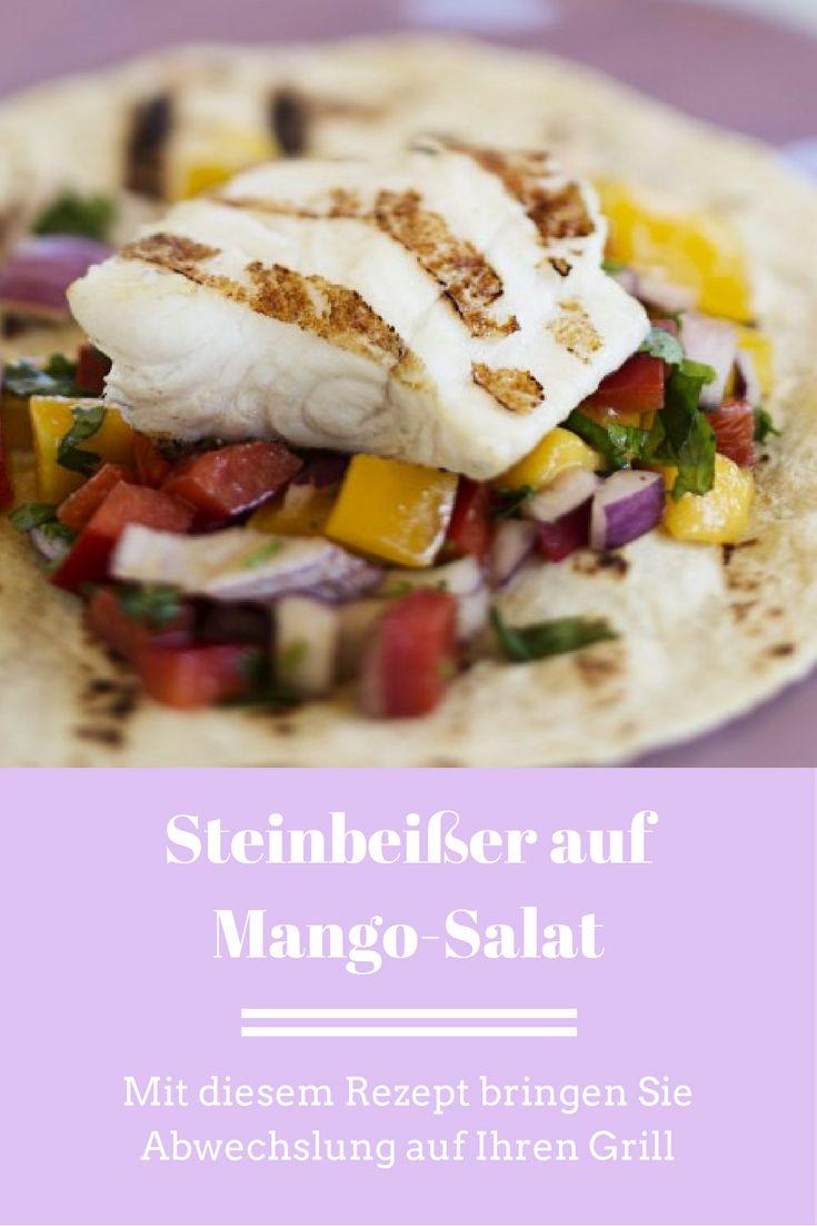 Steinbeißer auf Mango-Salat