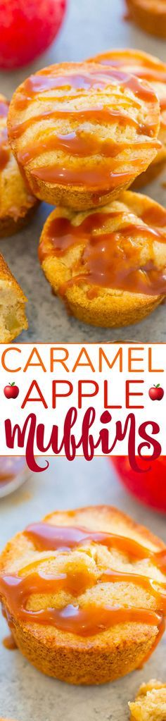 Caramel Apple Muffins - Soft, fluffy, springy, loaded with chunks of apples, and so much CARAMEL flavor!! EASY, no mixer needed, and you'd never guess they're accidentally vegan!!